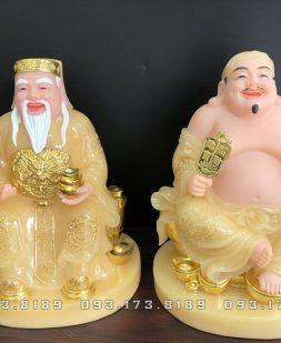 tượng ông địa thần tài bằng đá thạch anh vàng ngọc đế tròn đẹp