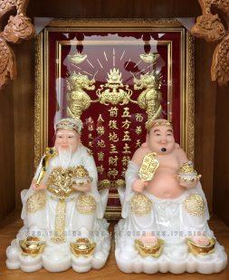 tượng ông địa thần tài bằng đá trắng đế thỏi vàng đẹp