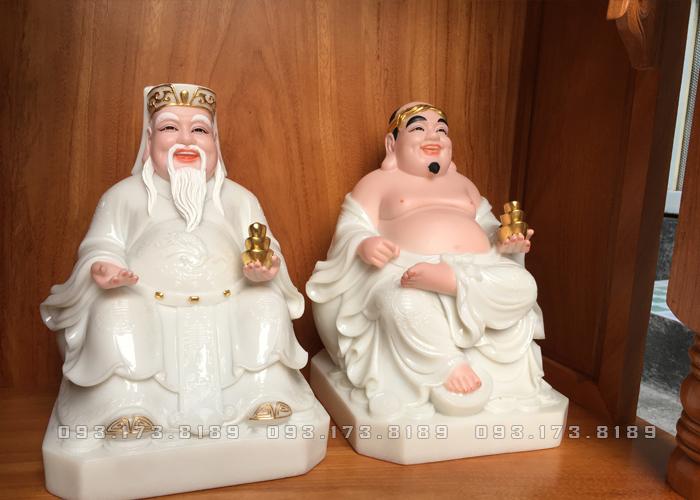 tượng ông địa thần tài bằng đá trắng đẹp