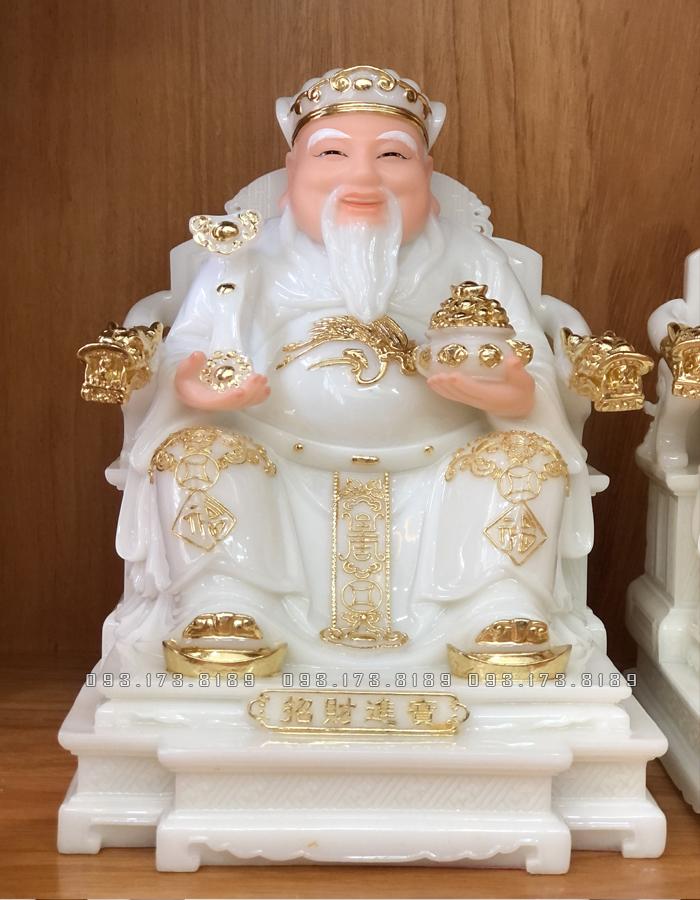tượng ông địa thần tài bằng đá trắng viền vàng ghế rồng đẹp