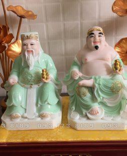 tượng ông địa thần tài bằng đá xanh ngọc viền vàng đẹp