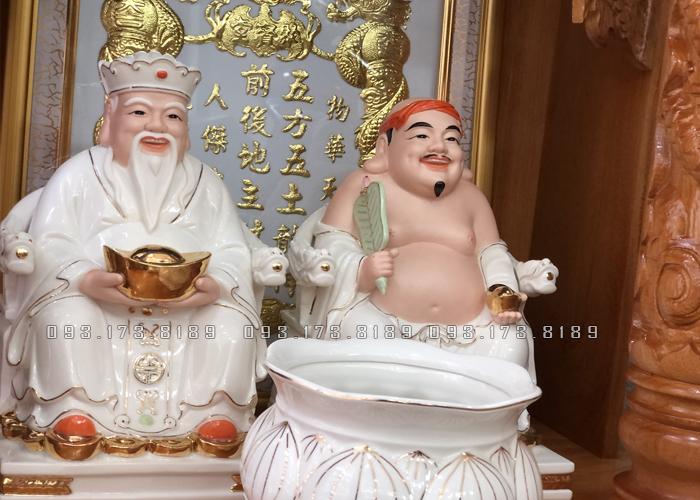 tượng ông địa thần tài bằng sứ trắng đế vuông đẹp nhất