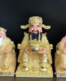 bộ 3 ông thần tài ông địa thần tiền bằng đá thạch anh