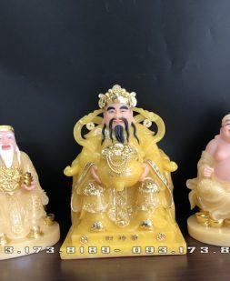 bộ 3 ông địa thần tài thạch anh đế tròn