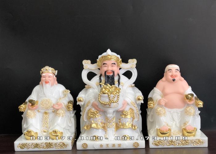 bộ 3 ông bàn thờ thần tài bằng đá trắng