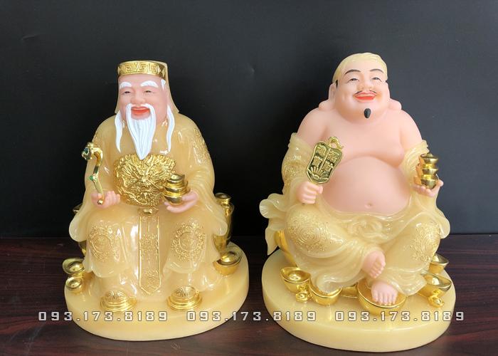 Tượng Ông Địa Thần Tài bằng đá thạch anh vàng ngọc đế tròn TD - 012