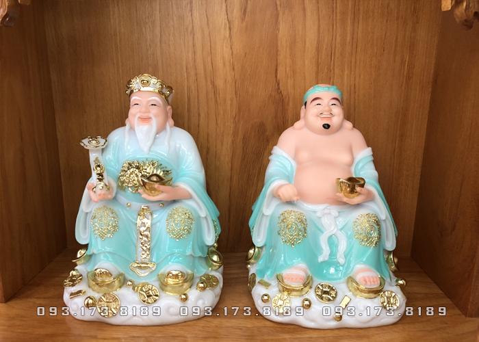 Tượng Ông Địa Thần Tài bằng đá xanh ngọc đế mây TD - 014 - Tượng Thần Tài Thổ Địa cho người tuổi Thìn