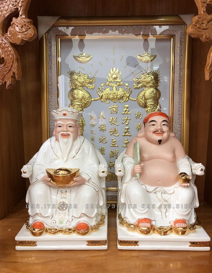 Tượng Ông Địa Thần Tài bằng sứ trắng đế vuông TD - 018 - tượng thần tài thổ địa cho người tuổi tỵ