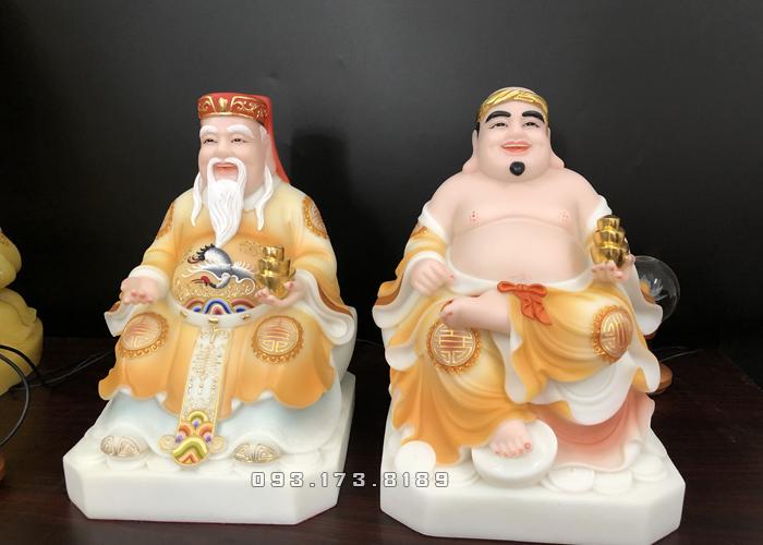 Tượng Ông Địa Thần Tài bằng bột đá màu khoáng vàng TD - 003 - tượng thần tài thổ địa cho người tuổi tỵ