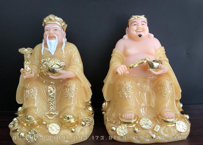 Tượng Ông Địa Thần Tài bằng đá thạch anh vàng ngọc TD - 009 - tượng thần tài thổ địa cho người tuổi tỵ
