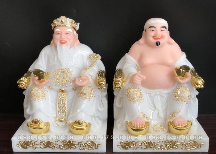 Tượng Ông Địa Thần Tài bằng đá trắng đế vuông hoa văn TD - 011 - tượng thần tài thổ địa cho người tuổi mão