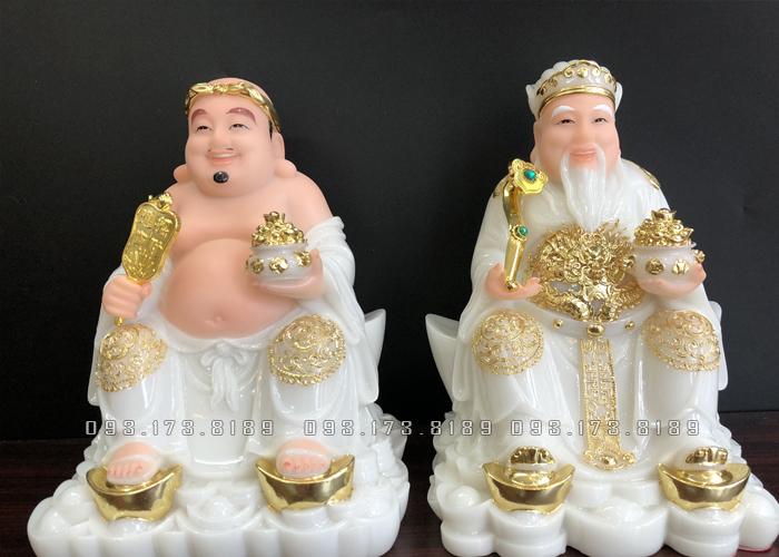 Tượng Ông Địa Thần Tài bằng đá trắng đế thỏi vàng TD - 020 - Tượng Thần Tài Thổ Địa cho người tuổi Thân