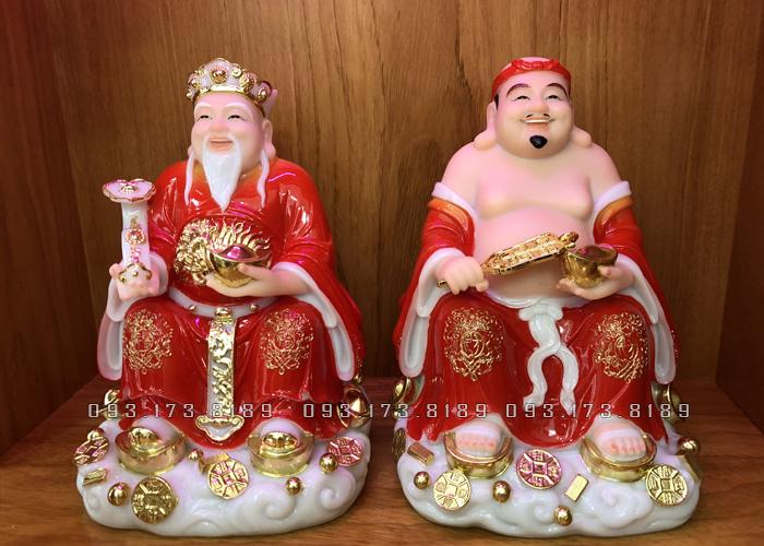 Tượng Ông Địa Thần Tài bằng đá đỏ đế mây TD- 015 - Tượng Thần Tài Thổ Địa cho người tuổi Thân