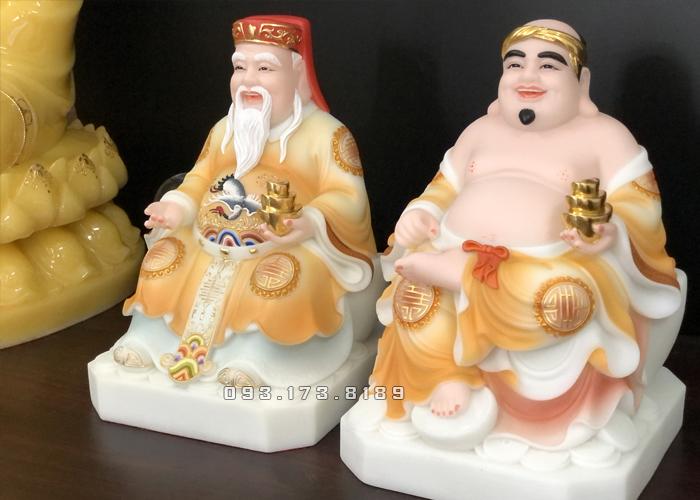 Tượng Ông Địa Thần Tài bằng bột đá màu khoáng vàng TD - 003