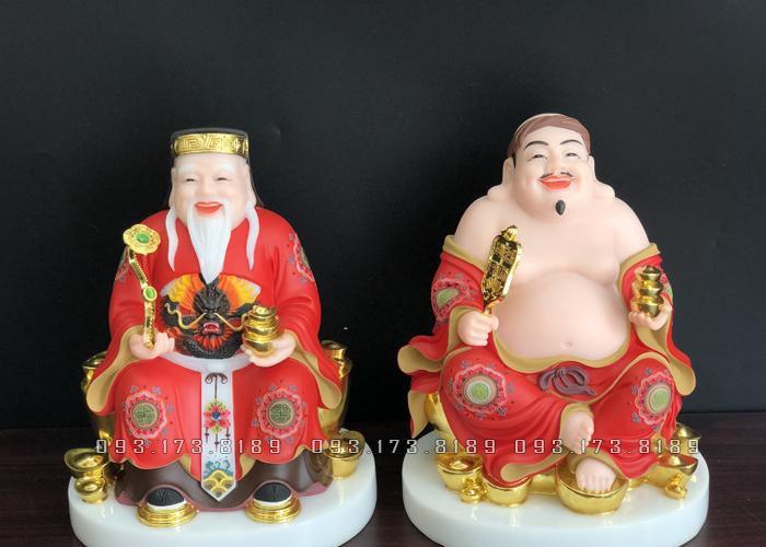 Tượng Ông Địa Thần Tài bằng đá phủ gấm đỏ TD - 022 - Tượng Thần Tài Thổ Địa cho người tuổi Dậu