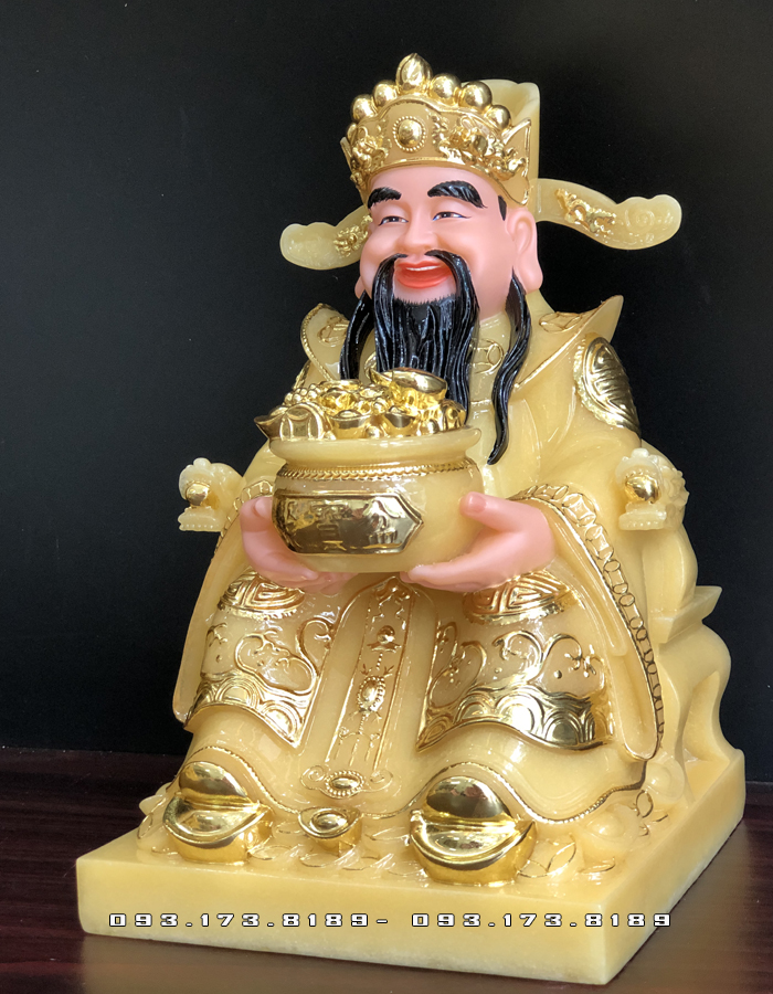 tượng ông thần tiền bằng bột đá thạch anh vàng ngọc giá rẻ nhất