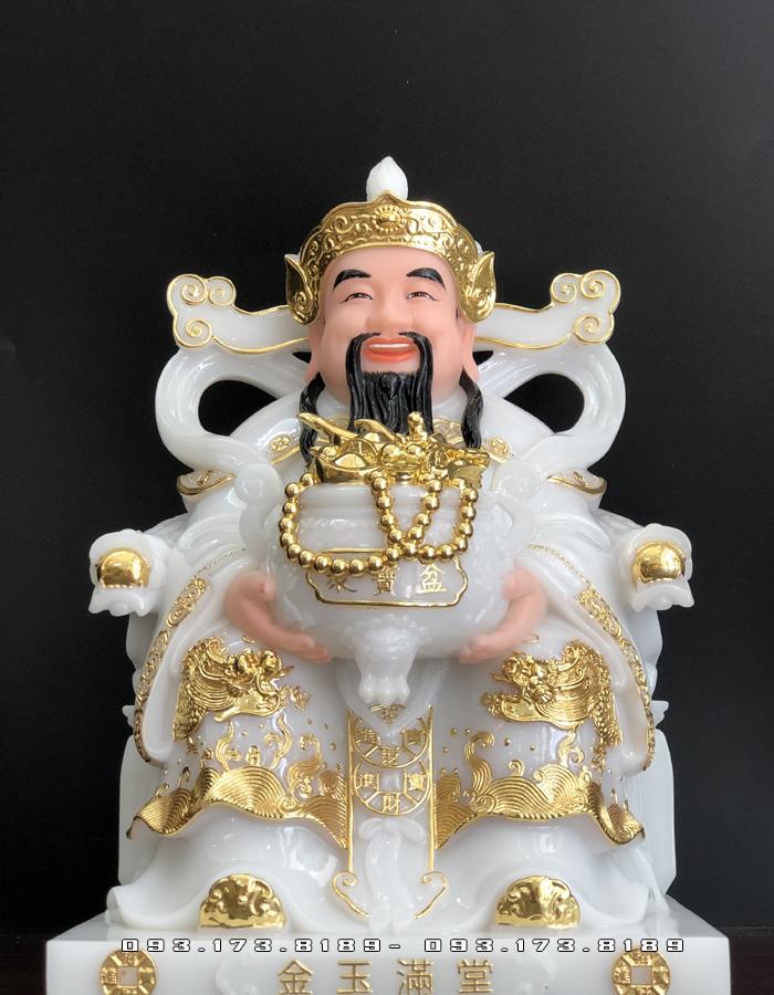 tượng ông thần tiền bằng đá trắng