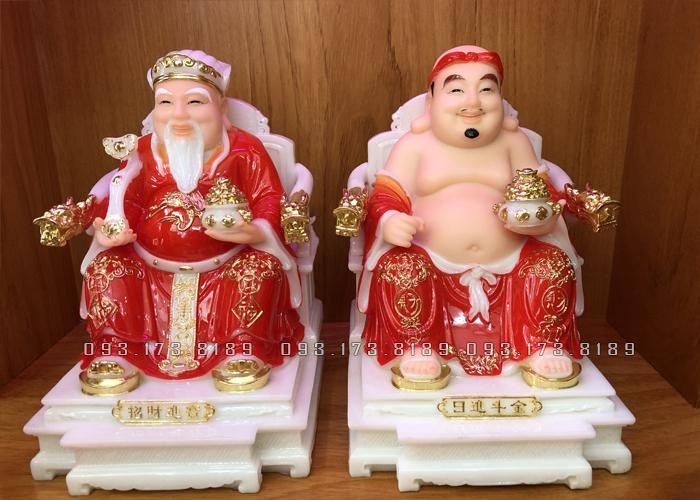 Tượng Ông Địa Thần Tài bằng đá đỏ ghế rồng TD - 017 - tượng thần tài thổ địa cho người tuổi mão